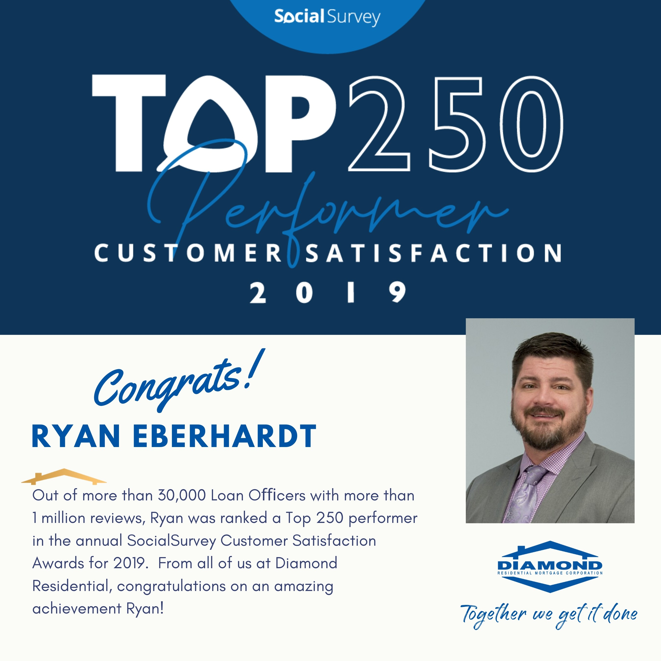 Ryan Eberhardt named Top 250 Originators in 2019 by SocialSurvey